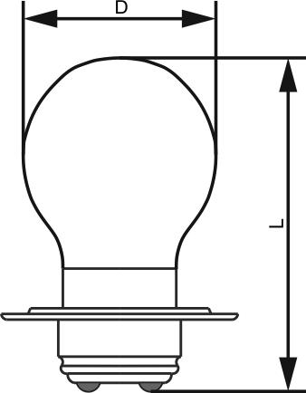 Размерные обозначения лампы накаливанияЖС 12-15+15 для железнодорожных светофоров